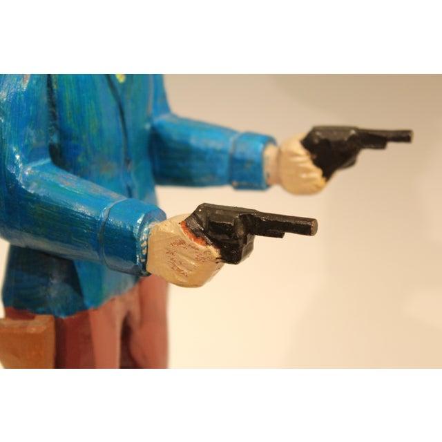 Blue Old Folk Art Figurine of Gunslinger Western Cowboy Gambler For Sale - Image 8 of 11