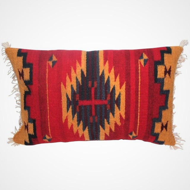 This is another late but really great Navajo Indian weaving pillow. The backing is in red cotton linen.