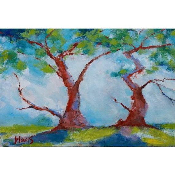 Twisted Cypress Carmel Oil Painting For Sale - Image 5 of 6