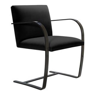 Brno Flat-Bar Chairs in Noir Velvet, Obsidian Gloss Frame For Sale