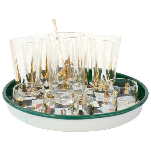 17 Piece Mid-Century Modern Chess Themed Bar Set - Image 3 of 9