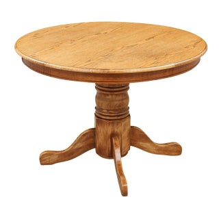 Round Oak Pedestal Table For Sale