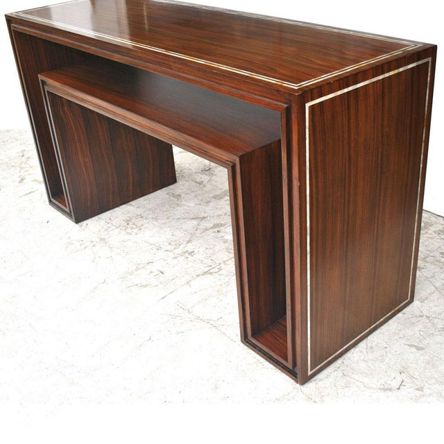 Modern rosewood mother of pearl entry sofa table. Inlaid mother of pearl paired with a rosewood veneer creates a dramatic...