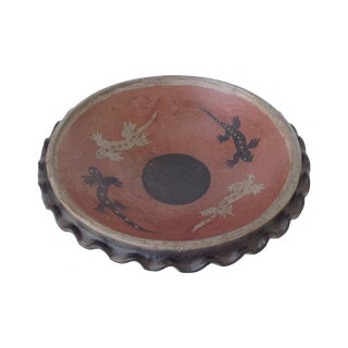 Vintage Terracotta Hand-Made Fluted African Bowl For Sale
