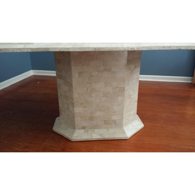 Tessellated Fossil Stone Pedestal Dining Table - Image 3 of 8