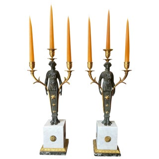 Pair of Empire Candelabra of Ormolu and Patinated Bronze and Marble For Sale