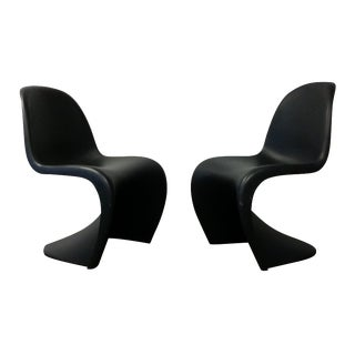 Mid-Century Black Panton Chairs - Pair