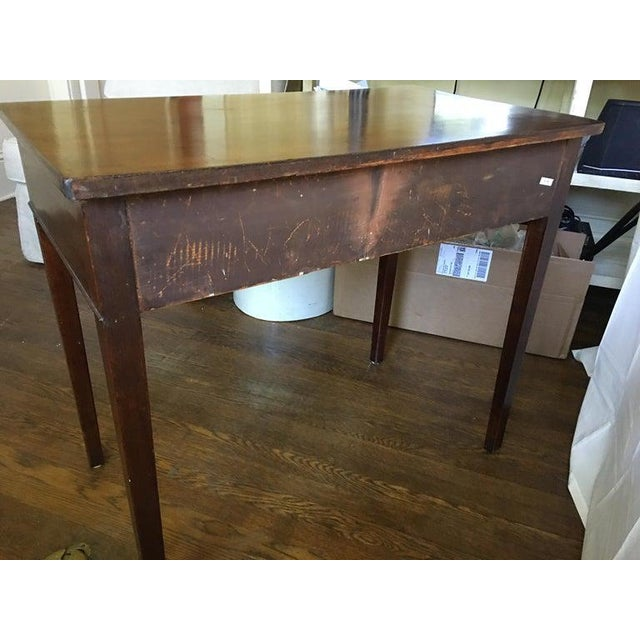 Wood English Mahogany Side Table with Two Drawers on Tapered Legs, circa 1800 For Sale - Image 7 of 8
