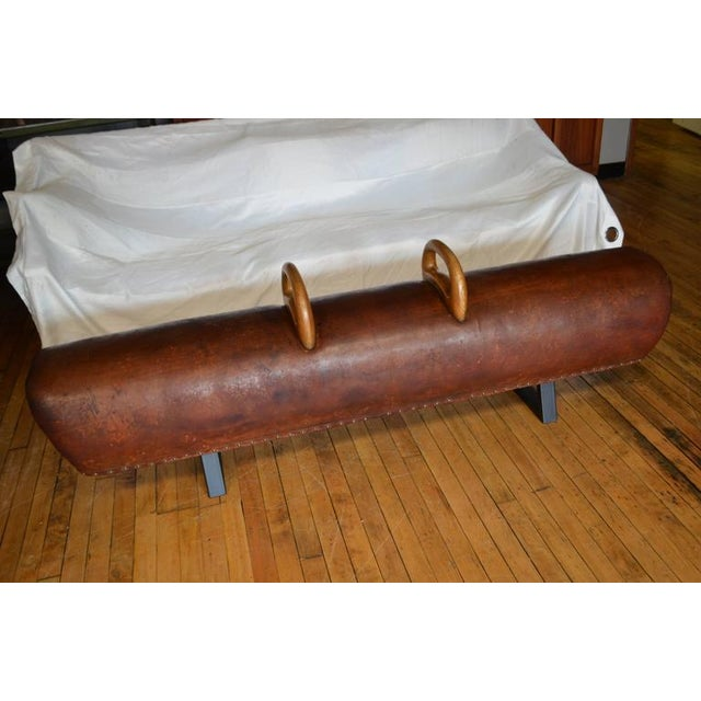 Vintage Leather Gym Pommel Horse Bench - Image 3 of 10