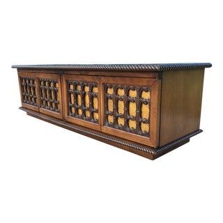 Hollywood Regency Carved Wood & Gold Leaf Low Media Cabinet / Credenza For Sale