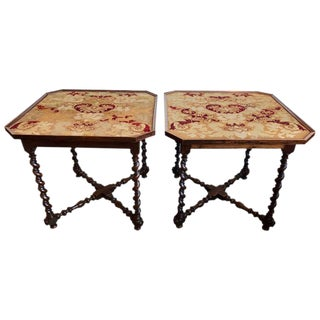 Pair of 19th Century French Needlepoint Top Tables For Sale