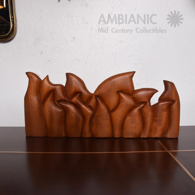 Abstract Wood Sculpture the Last Supper Signed Victor Rozo For Sale In San Diego - Image 6 of 9