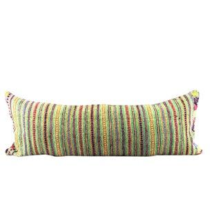 Green Woven Boho Lumbar Pillow For Sale