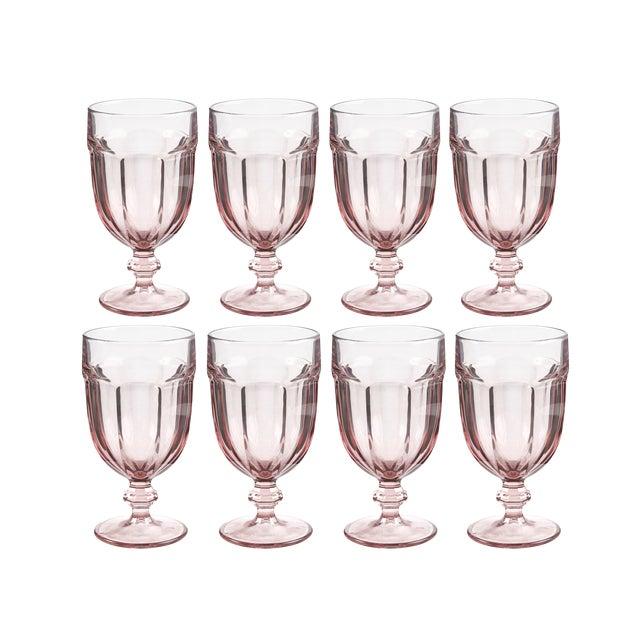 Vintage Libbey Duratuff Goblets Pink Stemmed Glassware Beverage Glasses - Set of 8 For Sale