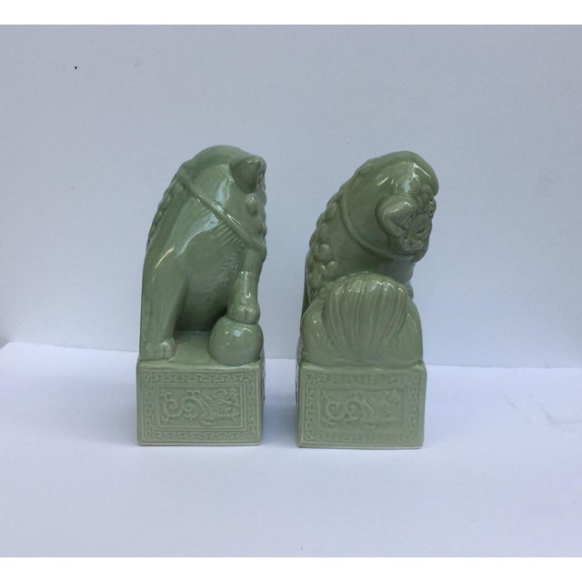Green Celadon Foo Dogs - A Pair - Image 3 of 6