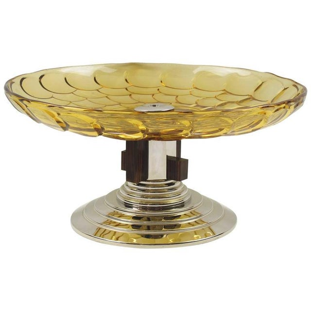 Yellow French Art Deco Yellow Glass Chrome Macassar Centerpiece Bowl For Sale - Image 8 of 8