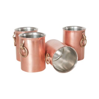 Blanc Creatives Hand-Made Copper & Brass Pints S/4 For Sale