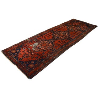 1960s Vintage Hand-Knotted Persian Hamadan Runner Rug - 3′6″ × 10′ For Sale