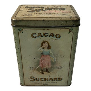 Antique Suchard Cacao Milka Swiss German Cocoa Advertising Tin For Sale