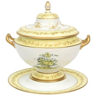 Mottahedeh Yellow Botanical Tureen, Lid and Fitted Under Tray, Vintage For Sale