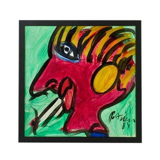 1980s Peter Keil Expressionist Portrait Oil Painting For Sale