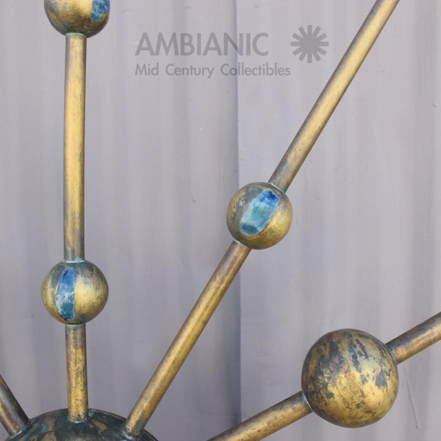 Mid-Century Modern Pair of Pepe Mendoza Bronze and Malachite Wall Sculptures For Sale - Image 3 of 13