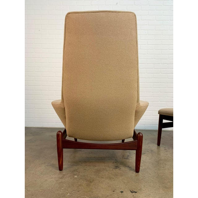 i.b. Kofod-Larsen High Back Lounge Chair Model Pd30 With Ottoman, Circa 1960 For Sale In Dallas - Image 6 of 13
