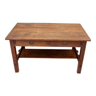 1920s Arts and Crafts L&jg Stickley Two Drawer Desk For Sale