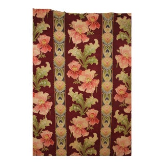 French Art Nouveau Printed Linen And Cotton Floral Fabric For Sale