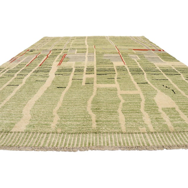 Abstract Expressionism Contemporary Moroccan Area Rug - 10' X 13'08 For Sale - Image 3 of 10
