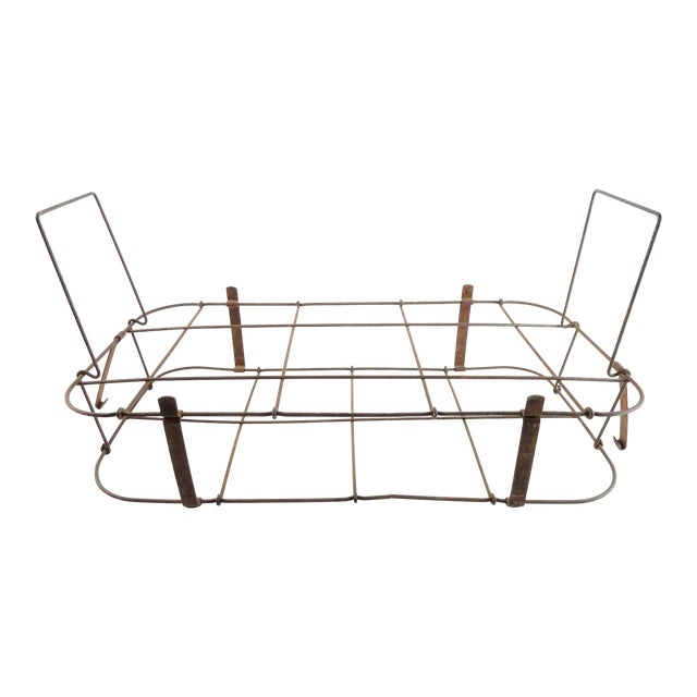 1930s Rustic Wire Basket With Handle For Sale