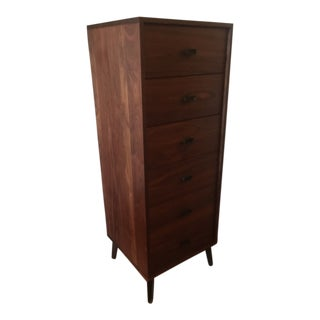 Black Walnut Chest of Drawers With Metal Hardware For Sale