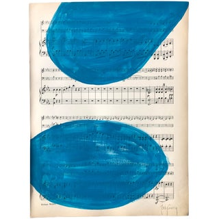 """Blue Symphony"" Original Vintage Modern Painting by Tony Curry For Sale"
