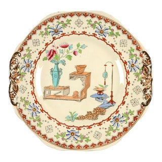 Late 19th Century Spode Canton Octagonal Handled Cake Plate For Sale