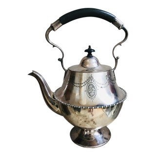 Silver Plated, Engraved, Bone Handled Teapot For Sale