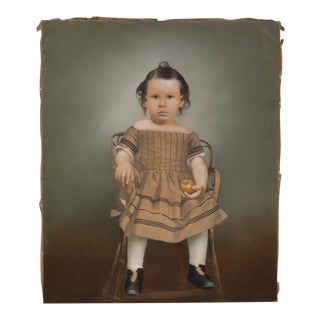 "Americana Folk Pastel Portrait ""Seated Child w/ Apple"" c.1880"