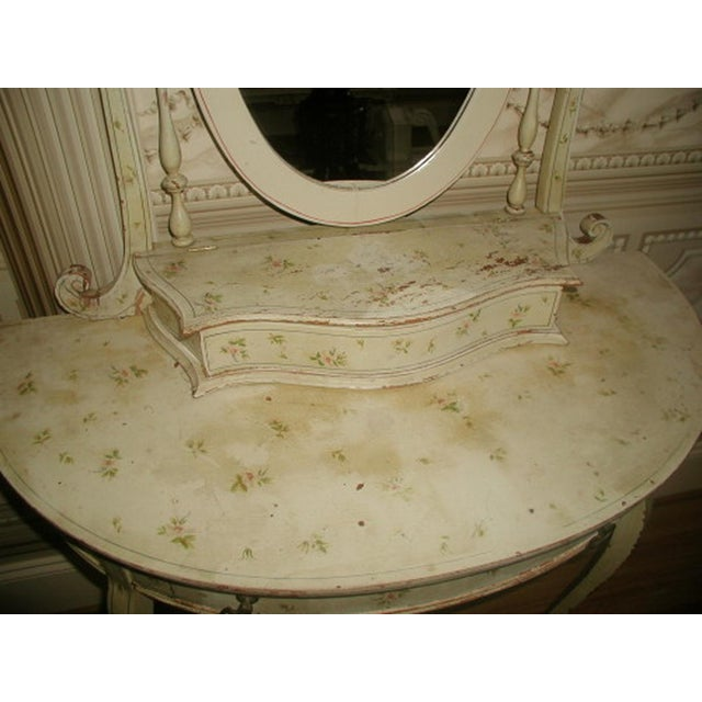 Flowered French Vanity With Mirror & Glove Box - Image 3 of 8