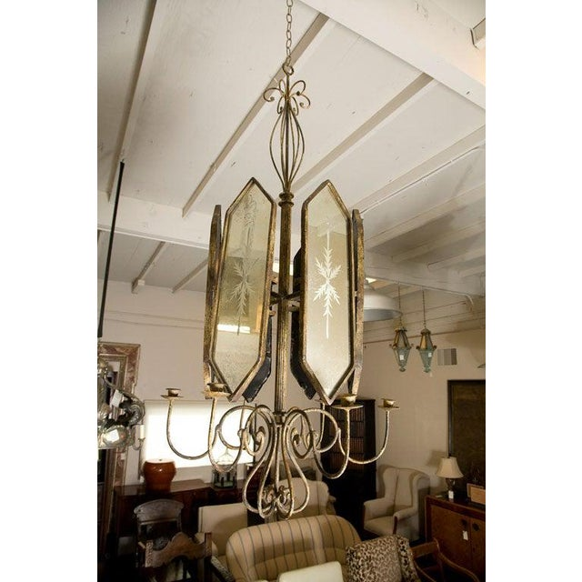 Italian Etched Mirror Panel Hanging Candlestick Chandeliers For Sale - Image 10 of 11