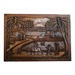 Vintage Hand-Carved Teak Panel For Sale