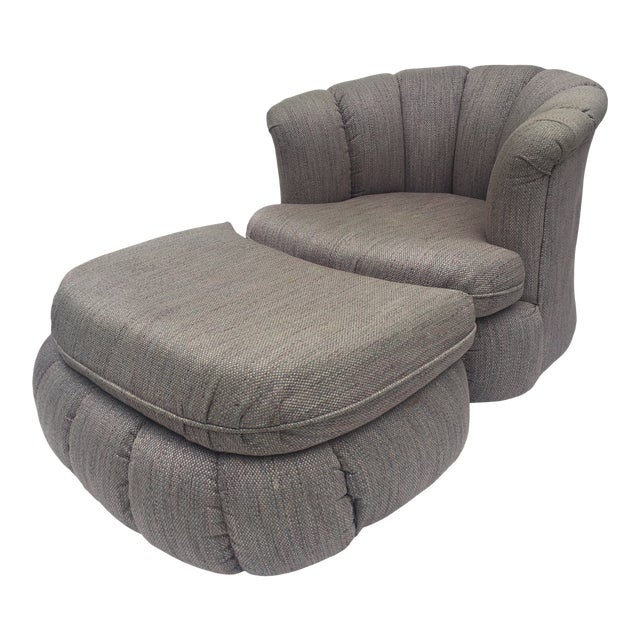1980s Vintage Milo Baughman Style Shell Swivel Chair & Ottoman For Sale