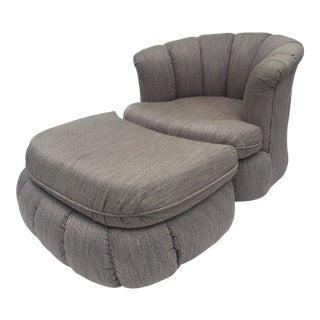 1980s Vintage Vladimir Kagen Style Shell Swivel Chair & Ottoman For Sale