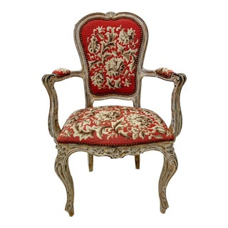 Antique French Needlepoint Bergere Chair For Sale