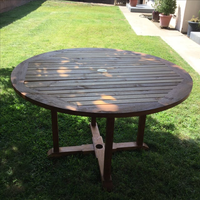Outdoor Round Teak Table - Image 2 of 4