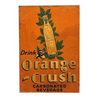 "1920's Embossed Tin Sign "" Orange Crush """