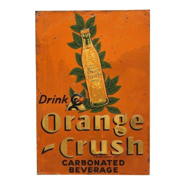 "1920's Embossed Tin Sign "" Orange Crush "" - Image 1 of 2"