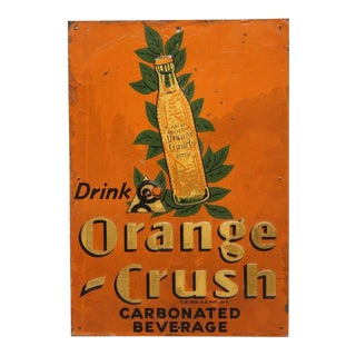 "1920's Vintage Embossed ""Orange Crush"" Tin Sign For Sale"