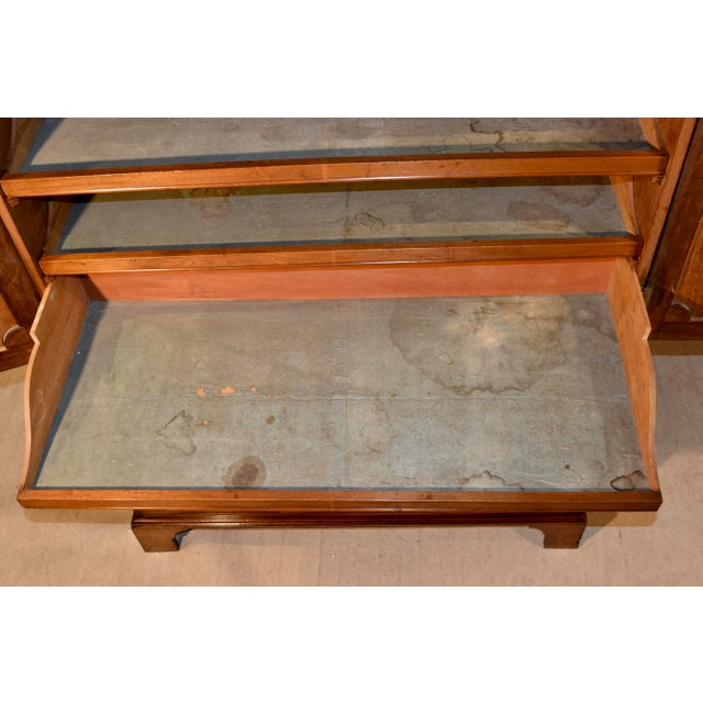 Metal 19th Century English Mahogany Linen Press For Sale - Image 7 of 12