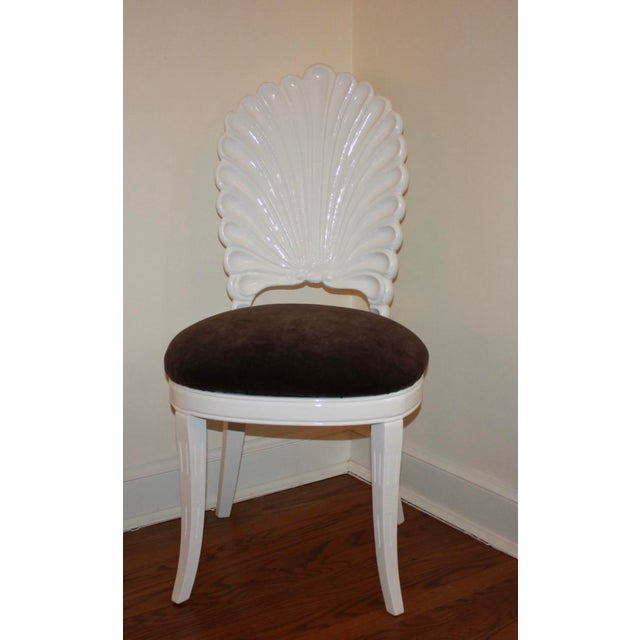 Shell back chair will add interest as an easily moved around accent piece. It has been professionally lacqued in Dove...