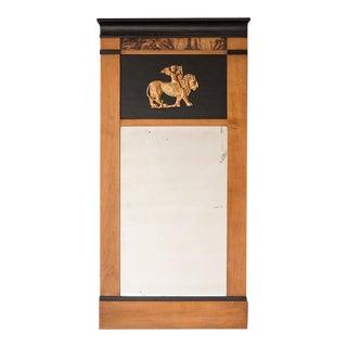 1830s Biedermeier Period Antique Austrian Cherrywood Ebonized Mirror With Gold Leaf Lion and Cherub Motif For Sale