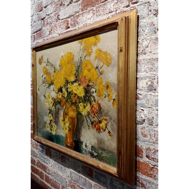"Brown Thorwald Albert Probst ""Flowers of Fall"" Still Life Oil Panting C.1910s For Sale - Image 8 of 11"